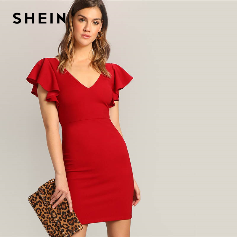 SHEIN <font><b>Red</b></font> <font><b>Sexy</b></font> Zip V-back <font><b>Short</b></font> Butterfly Sleeve V Neck High Waist Mini <font><b>Dress</b></font> Women Summer Solid Elegant Bodycon Party <font><b>Dresses</b></font> image