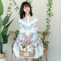 Fox Country ~ Printed Half Sleeve Chiffon Dress Sweet Lolita OP Dress by YLF
