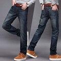 Novo 2017 boutique de moda linhas de cor pura dos homens jeans casual/boutique de Luxo masculino blue jeans calças Dos Homens