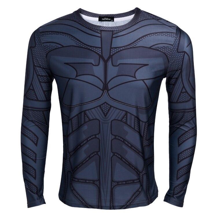 2016 NEW Batman printing long sleeved O-neck t shirts cosplay anime Stretch tight Slim t shirt men
