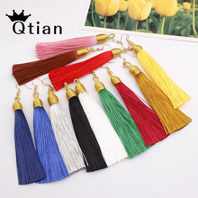 Купить с кэшбэком Qtian 2019 New Long Tassel Earrings For Women Boho Drop Dangle Fringe Ethnic Vintage Statement Fashion Jewelry EarringsWholesale