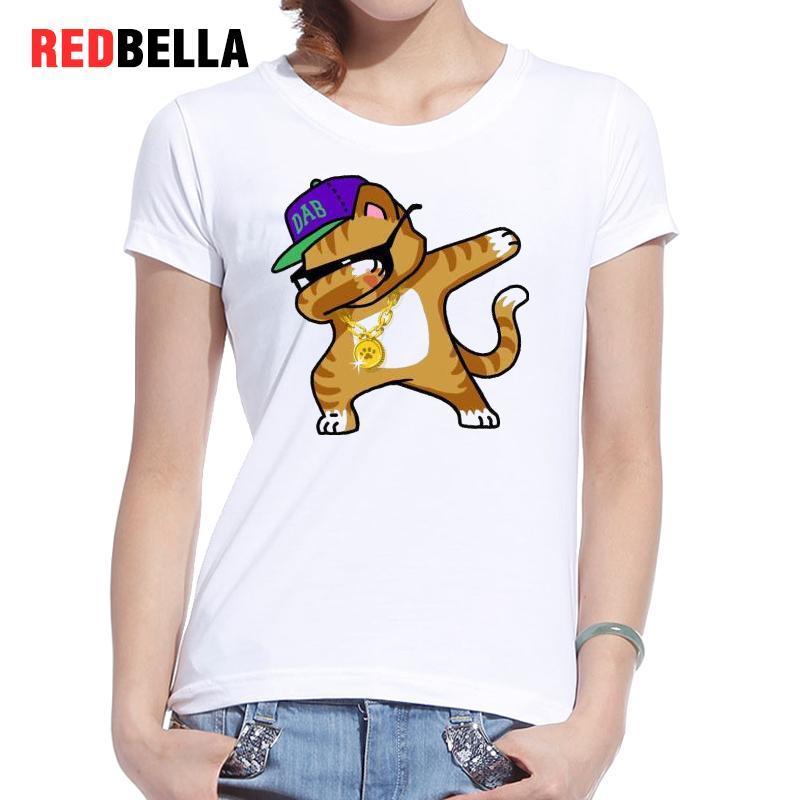 REDBELLA Kawaii T Shirt font b Women b font Kids Hip hop Rock Pose Cartoon Funny
