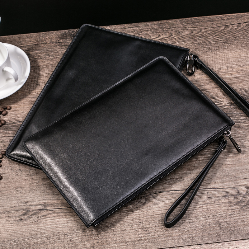 MEIGARDASS Brand Genuine Leather Mens Wallet Black Fshion Classic Pockets Money Card Clutch Phone Bag Travel Wrist bag L-164