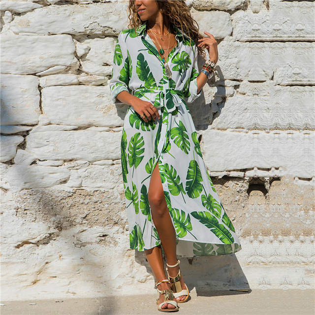 long casual dress long-sleeve button down 5