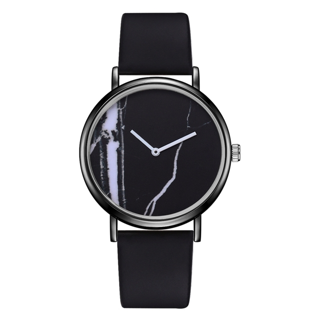 Fashion Creative PU Sport Business Quartz Watches Women Concise And Easy Marble