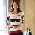 New 2016 Spring Autumn Korean Style Women Slim striped bottoming pullover sweater shirts tops