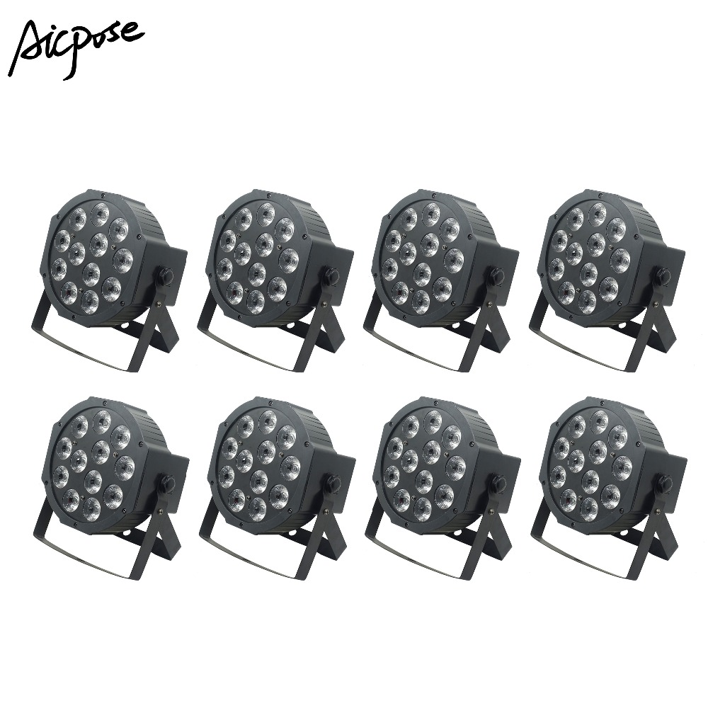 8pcs/lots 12x12w 6 In1 Rgbwa Uv Led Par Lights Flat Par Led With Dmx512 Control Wall Washer Lighting Wedding Party Stage Light Sale Price Commercial Lighting