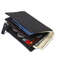 Luxury Brand Matte Men Wallets With Zipper Coin Pocket Men C