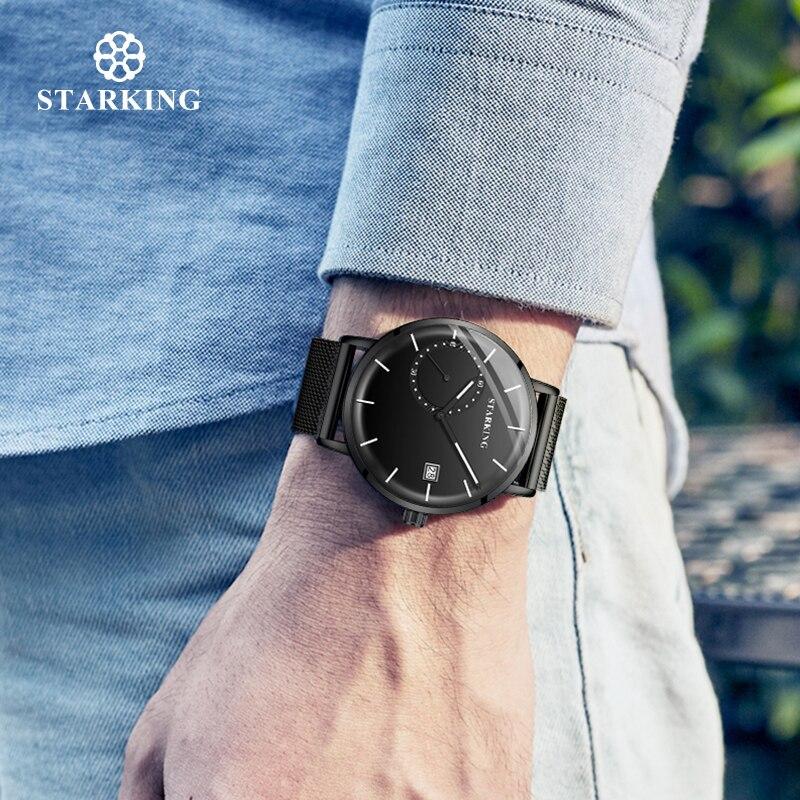 Image 4 - STARKING Men Watch Luxury Quartz Analog Clock Mesh Band Leather Strap SET Watch Auto Calendar Second Dial Watch Man RelogioQuartz Watches   -