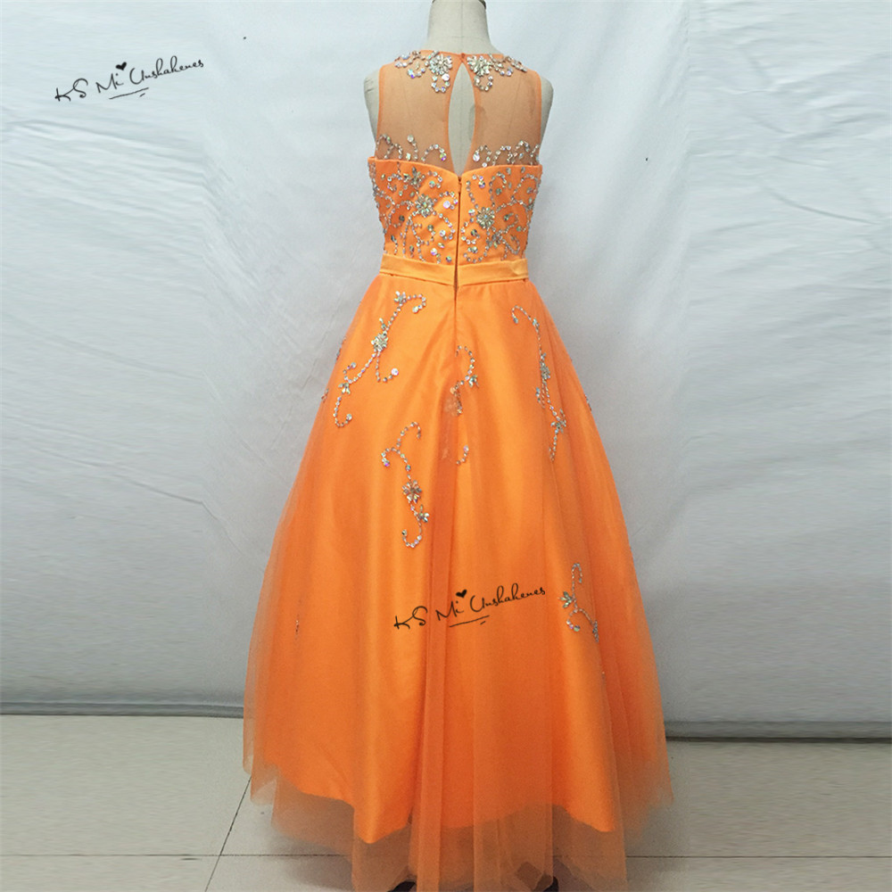Vestido de Daminha Sweet Orange Ball Gown Pageant Dresses for Little Girls Bridesmaid Dress 2017 First Communion Dresses Beaded - 2