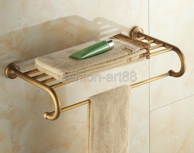 ФОТО Bathroom Accessory Fitting Antique Brass Wall Mounted Bathroom Towel Rail Holder Storage Rack Shelf Bar aba026