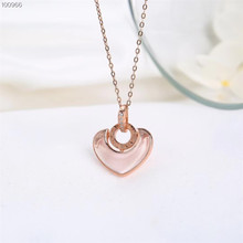 hot sale romantic 925 sterling silver natural pink crystal charm necklace pendant for female wedding engagement