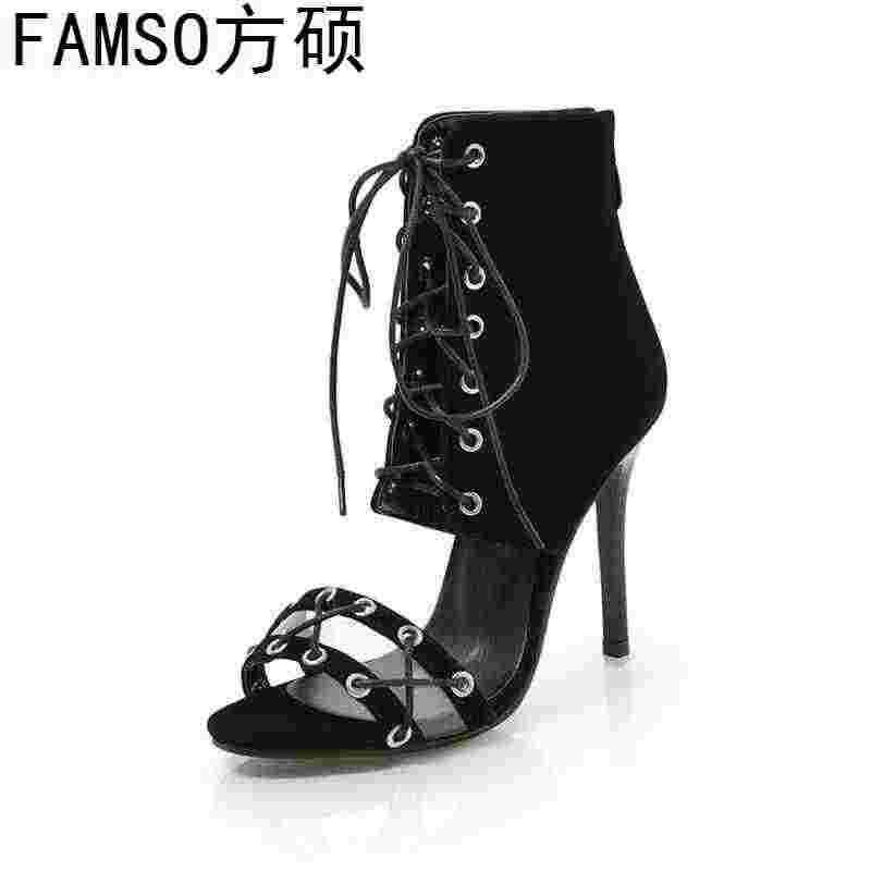 3bbbd664d6 FAMSO 2019 nuevos zapatos para mujer de encaje negro-De Los tacones altos  tamaño 34