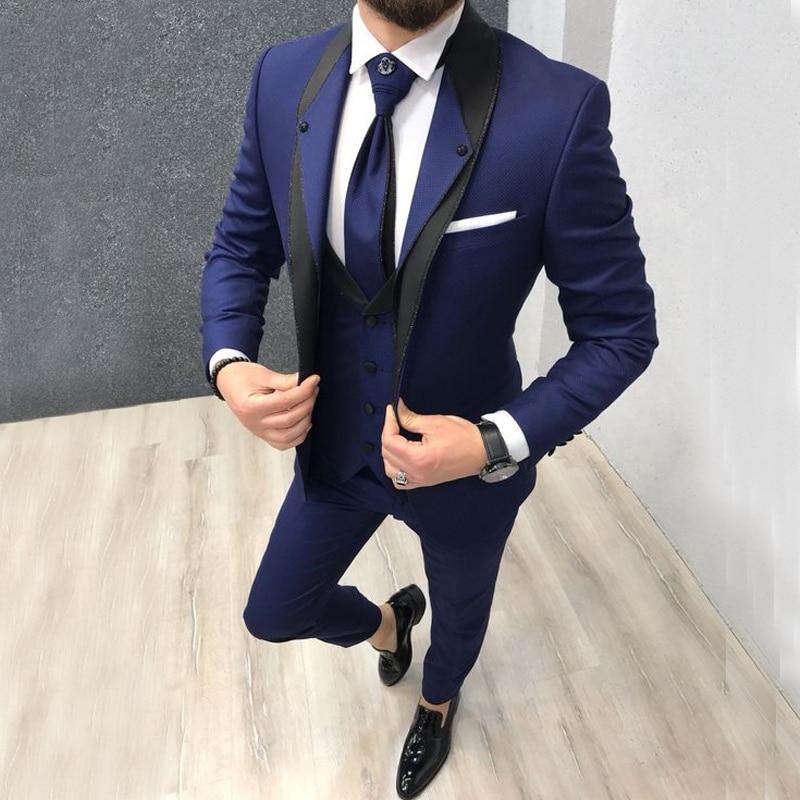 Индивидуальный темно синий приталенный Свадебный костюм для мужчин, костюмы для жениха, смокинги, 3 штуки, Женихи, мужские вечерние костюмы, свадебный смокинг для мужчин