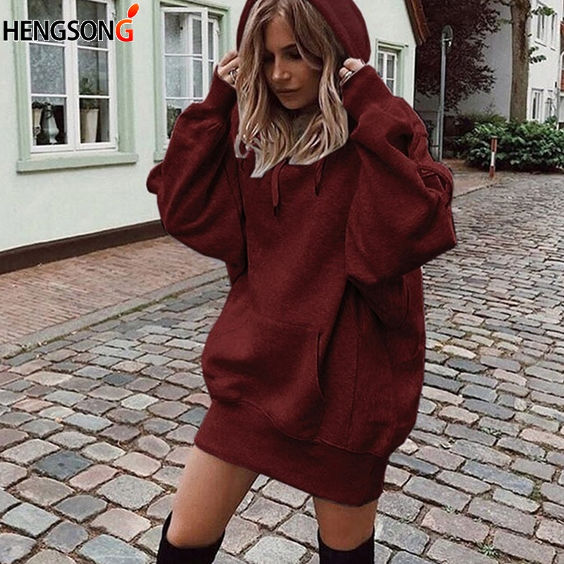 Fashion Autumn Women Long Sleeve Sweatshirt Hoodies Casual Long Sweatshirt Pullover Jumper Solid Top Front Pocket Sweatshirts