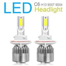 2pcs H13 9008 C6 10800LM 6000K 120W COB LED Car Auto Headlight Kit Hi or Lo Light Bulb for Cars Vehicles