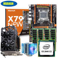 New arrival HUANAN X79 deluxe gaming motherboard set with cooler E5 2640 RAM 64G DDR3 1333MHz RECC GTX1050ti 4G DDR5 video card