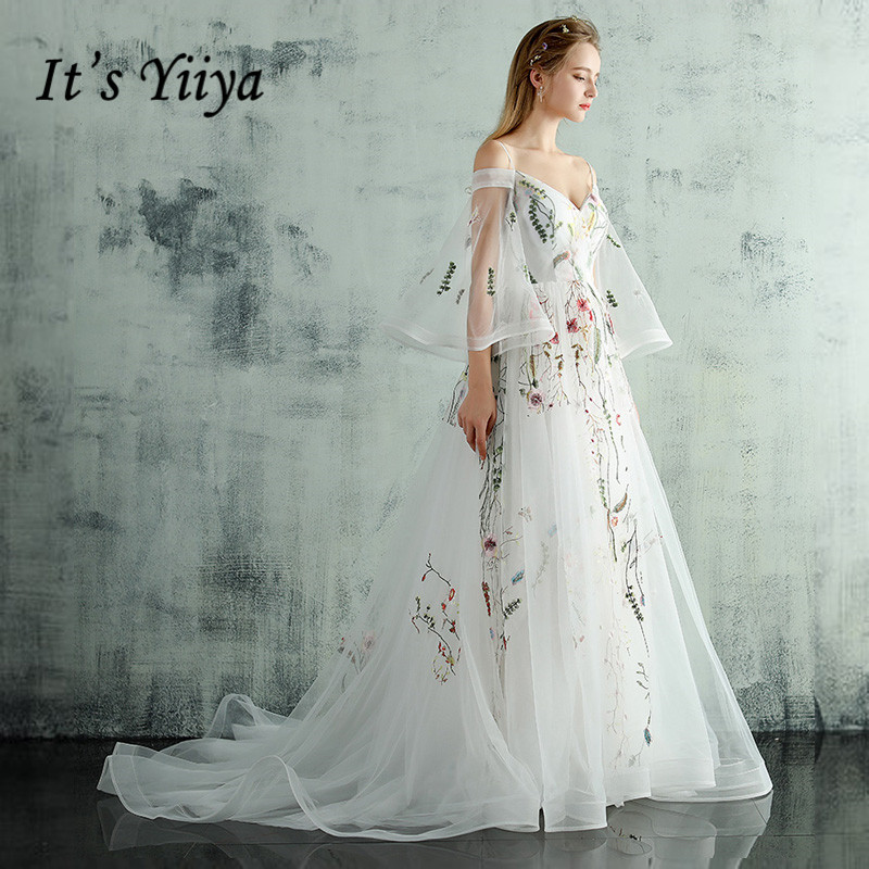 It's Yiiya New Train White Black Pink Embroidery   Evening     Dresses   Boat Neck Illusion Half Sleeves Trailing Party   Dress   LX232
