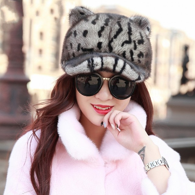 Cheap  Quality full pelt leopard printed mink fur hat with cat ears  Genuine Leather fur cap with bear ears for women, men's fur cap