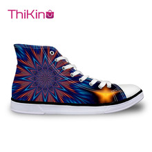 Thikin 2019 New High Top Canvas Shoes for Teenager Popular Women 3D Printed Pattern Sneaker