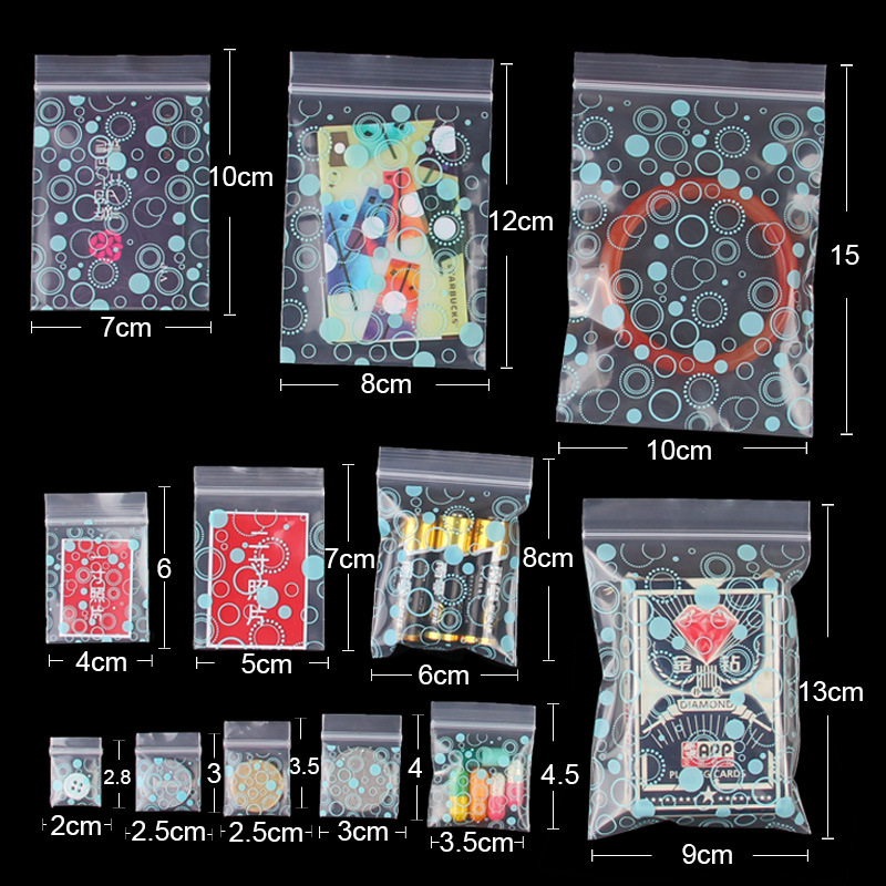 Mini Storage Bags 100 Pcs/set 0.2 Mm Thickness Jewelry Ziplock Zip Zipped Lock Reclosable Plastic Poly Clear Bags
