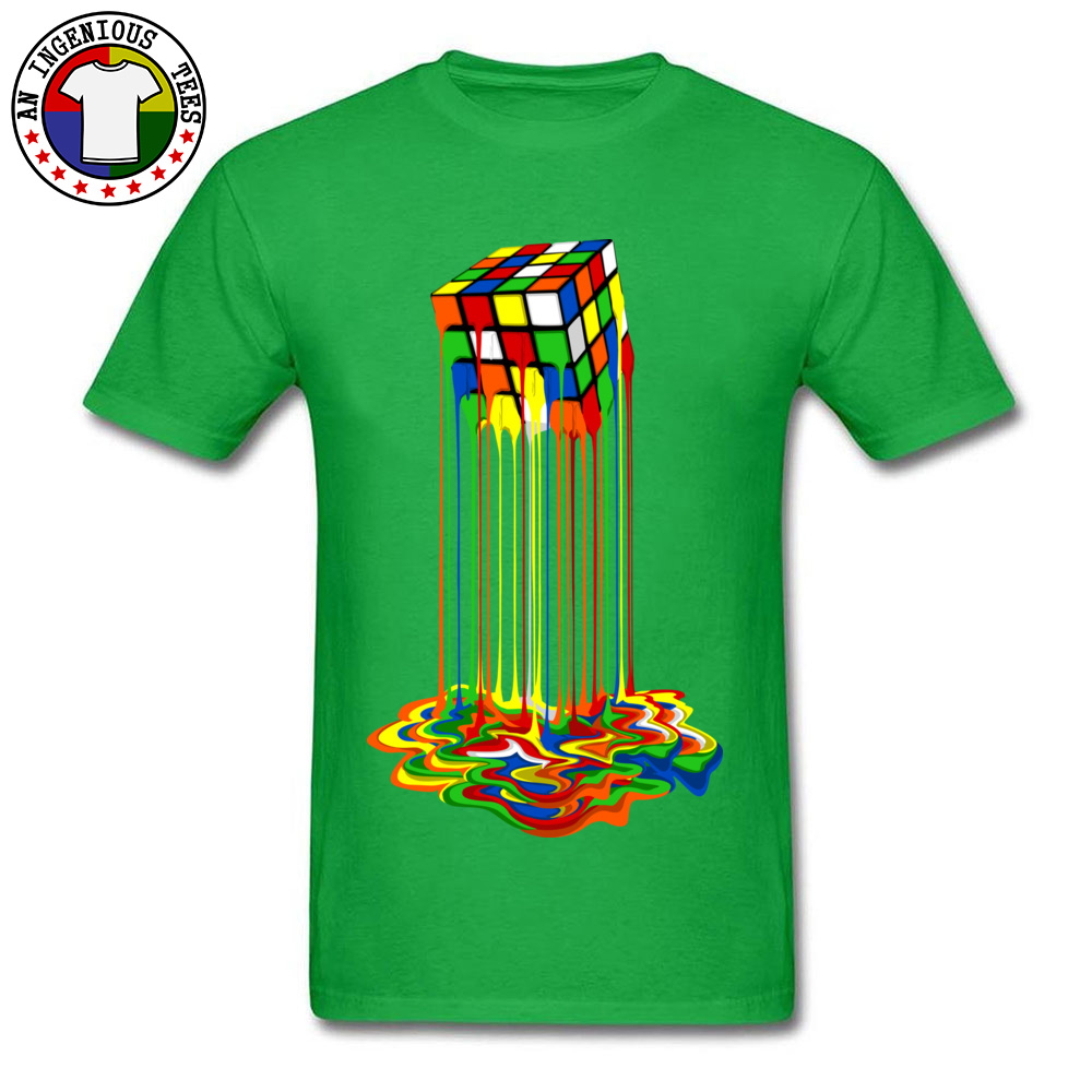Rainbow Abstraction melted rubix cube Tops Tees Brand New O Neck Casual Short Sleeve Pure Cotton Young T-Shirt Gift Tops & Tees Rainbow Abstraction melted rubix cube green