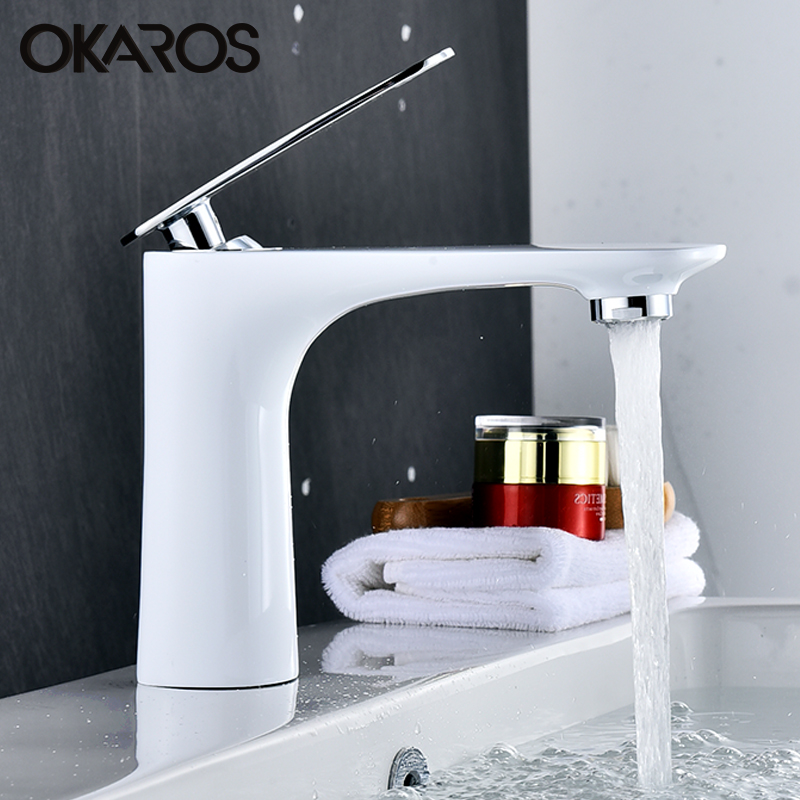 OKAROS White Basin Faucet Water Tap Bathroom Faucet Solid Black Red Brass Chrome Gold Finish Single Handle Water Sink Tap Mixer basin faucet water tap bathroom faucet solid black red brass chrome gold finish single handle sink cold and hot water mixer tap