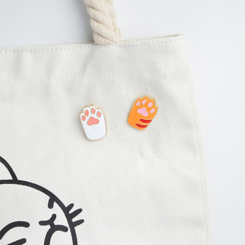 Orange,White,Black,Gray Paw Enamel pins Brooches Badges Lapel pin Denim Jackets Jeans Accessories Paw Jewelry