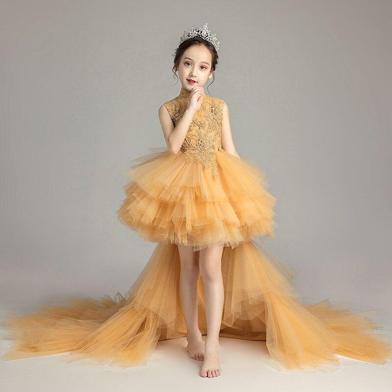 Robe de soirée fille fleur mariage fête formelle princesse haut de gamme robe Piano Show Costumes avec amovible traînée