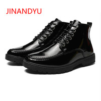 Fashion Men Spring Autumn Paint Leather Motorcycle Dr Boots Men British Style Gothic Punk Ankle Boots Thick Black Shoes
