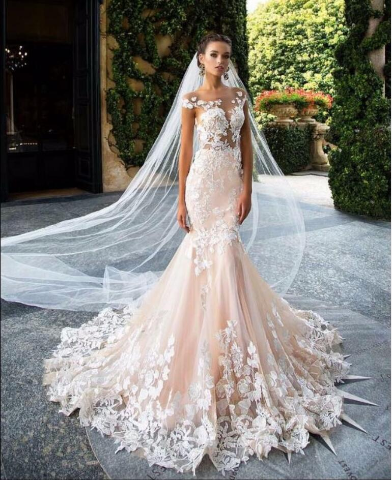 Unique blush pink wedding dress 2017 cap sleeve flower for Unique black and white wedding dresses