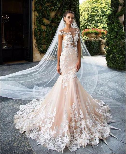Unique Blush Pink Wedding Dress 2017 Cap Sleeve Flower Appliques ...