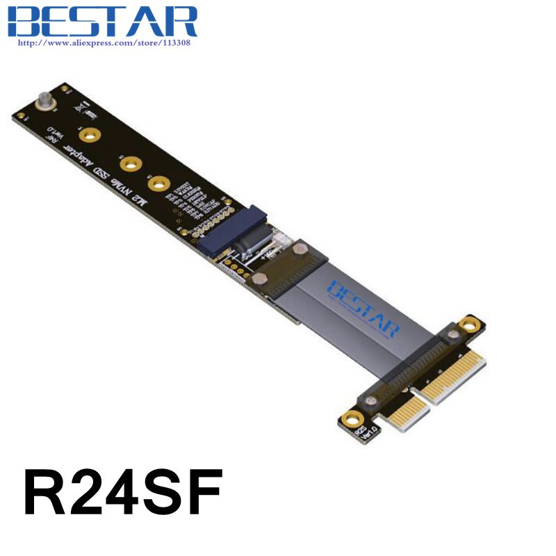 цена PCI-Express x4 PCI-E Gen3.0 32G/bps M.2 NVMe Key M SSD To PCIe 4x Riser adapter Card Extender Cable 10cm 20cm 30cm 60cm 80cm