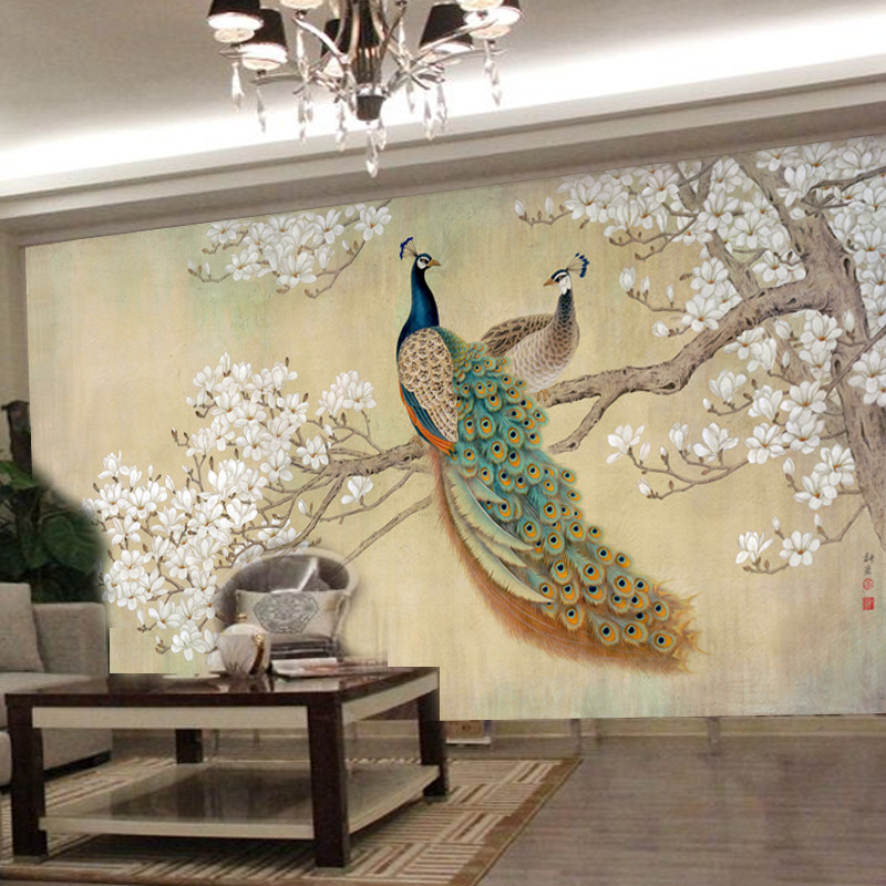 Photo Wallpaper Modern Art Painting Chinese Living Room Bedroom Tv Backdrop Bird Peacock Magnolia Large Mural