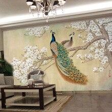 Фото обои современный искусство живопись Китайский гостиная спальня ТВ фон птица Павлин Магнолии большая фреска обои