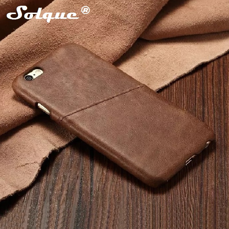 Solque Real Genuine Leather Thin Case For iPhone 5 5S SE 5SE Phone Cases Luxury Ultra Slim Card Hard Back Cover Retro Vintage