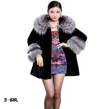 Silver Fur Winter Coat Long Outwear Faux / imitation Mink with Collar Warm Clothing Plus Size S-6XL fur coat
