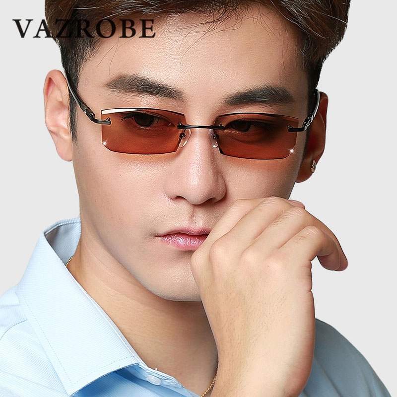 Chameleon Glasses Men Rimless spectacles custom prescription optical 1.61/1.67 MR-8 lens for Man Photochromic Anti Glare UV400