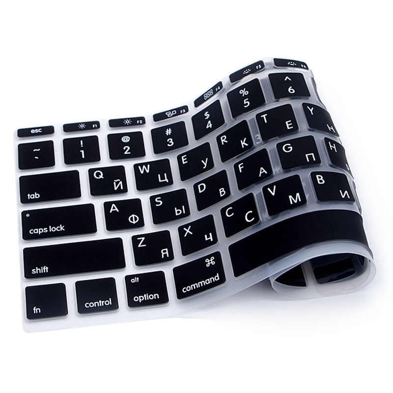 2 kleur US Russisch Toetsenbord Film protector voor Macbook Air Pro Retina 11 inch Laptop Skin Cover voor Mac book gel case black