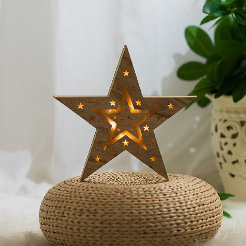 Christmas Lights Luminous Wooden LED Super Star Holiday Decorative Lighting Wedding Birthday Party Childrens Gifts Pendulums