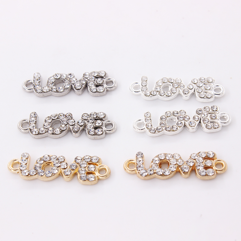 10pcs/lot Crystal Rhinestone LOVE <font><b>Connector</b></font> For Shamballa Jewelry Making Fit DIY Bracelet 25mm*7mm image