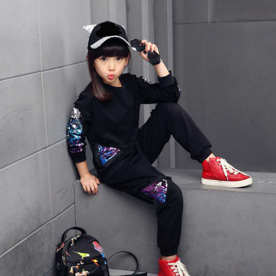 Girls Clothes Spring Autumn Fashion Sequin Design Girl Clothing Set Sweatshirt+ Pants <font><b>2</b></font> Pieces Age For 3T 4 <font><b>5</b></font> 6 7 8 9 10 11 <font><b>12</b></font> image