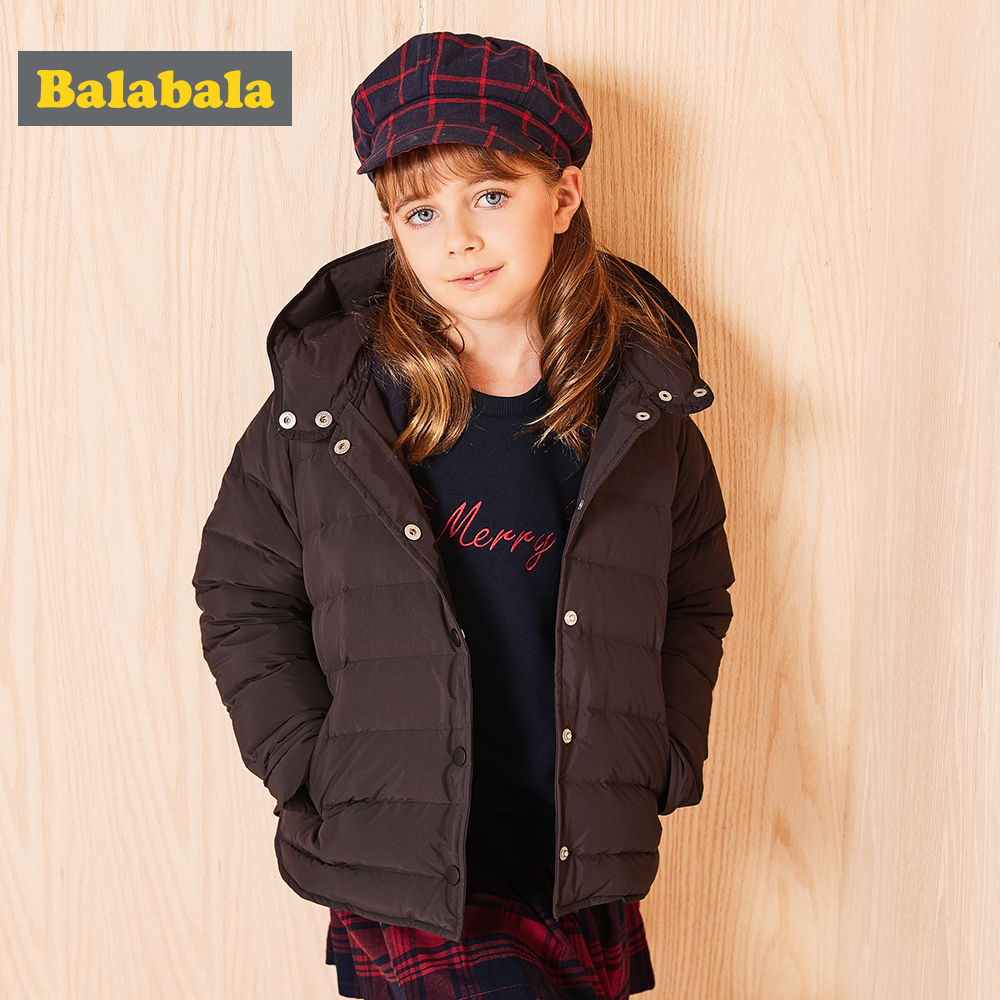 Balabala Children Girls Down Jacket Winter Girl Warm Down Jacket hooded Thin Fashion Soft Comfortable Kids Coat clothing 4 color
