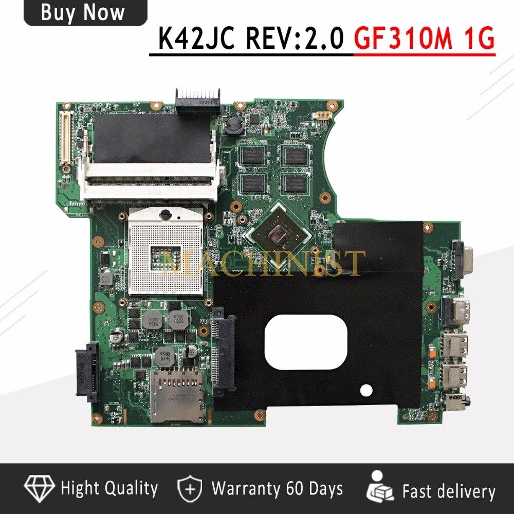 K42JC Motherboard REV2 0 GT310M 1GB 8 pieces For ASUS A42J K42J K42JC Laptop motherboard K42JC