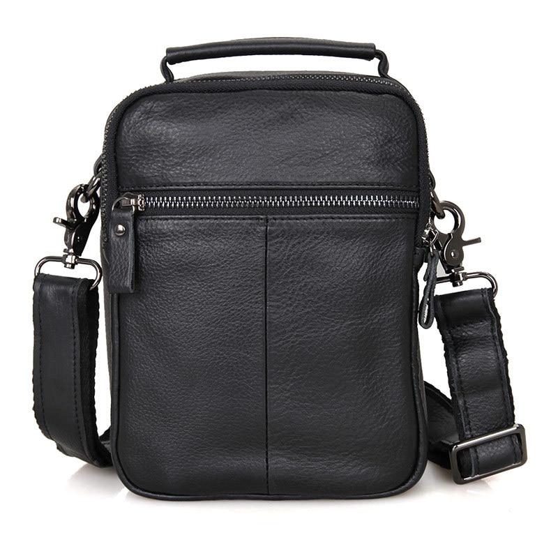Men Shoulder Bag Men's Black Genuine Leather Business Casual Crossbody Bag For Mini Ipad