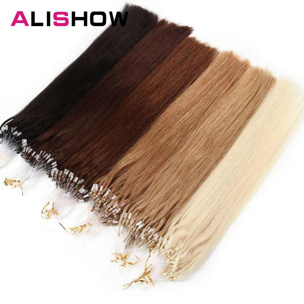 "Alishow Straight Loop Micro Ring Hair 18"" 1g/pc 50pieces Micro Bead Links Machine Made Remy Easy Ring Link Hair Extensions Human"