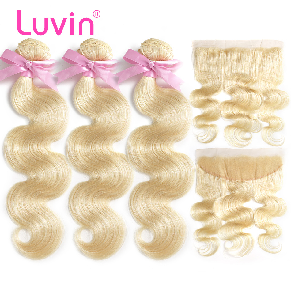 Luvin 613 Blonde Body Wave Brazilian Hair Weave Human Hair Bundles With Closure 3 Bundles Remy