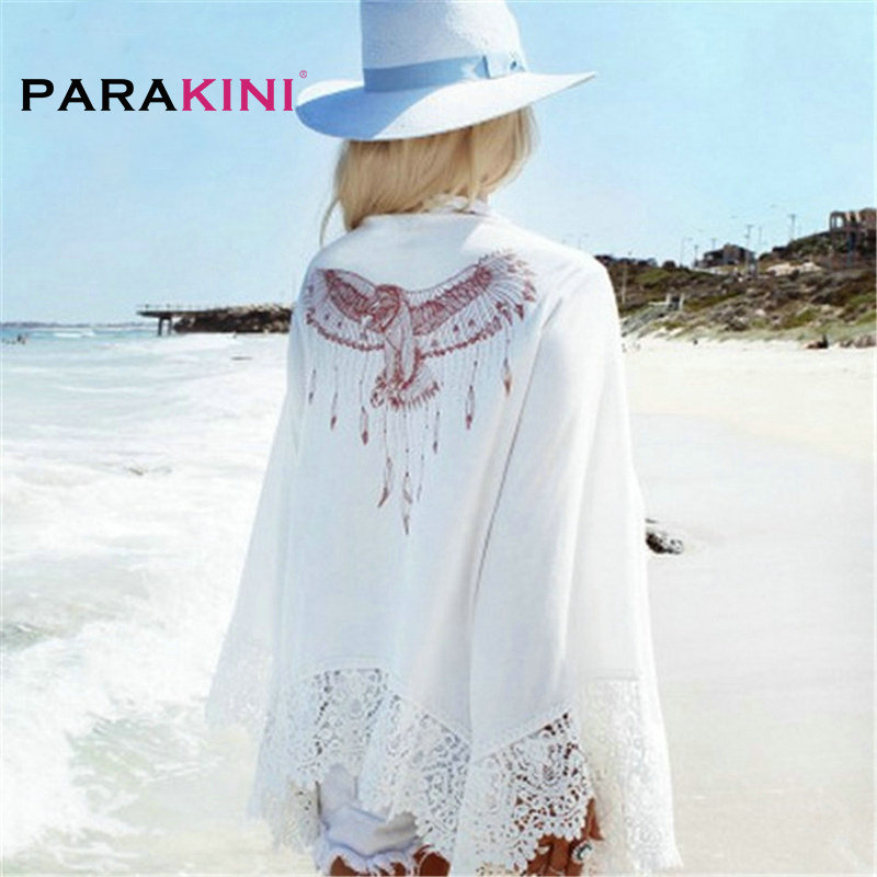 цена PARAKINI White Lace Crochet Beach Tunic Women Beach Wear 2018 V Neck Long Sleeve Bikini Cover Ups Hollow Out Mini Beach Dress