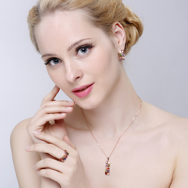 Rose Gold Plated Flower Jewelry Set Multicolor Cubic Zircon Pendant, Earrings and Ring