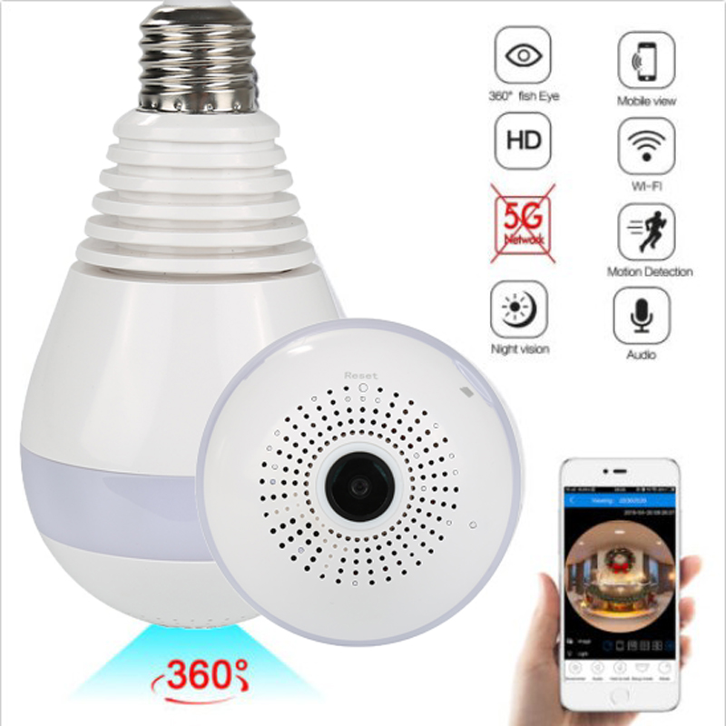 Light Bulb Camera Wireless Camera Wifi 960P Panoramic FishEye Home Camera 360 Degree Night Vision Video Camera